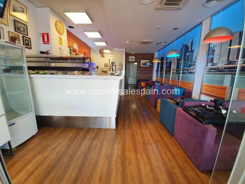 Lovely cafe bar in the front line of Fuengirola, Costa del Sol, Malaga, Spain
